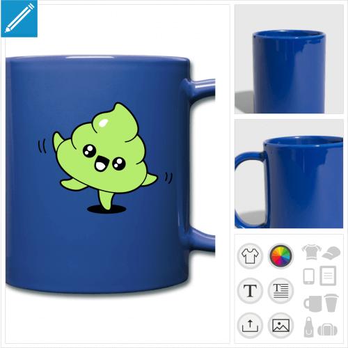 mug couleur crotte à personnaliser, impression unique