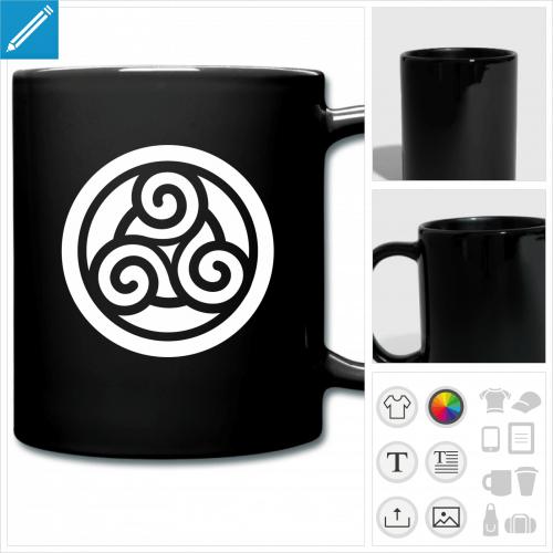 mug coloré triskel personnalisable