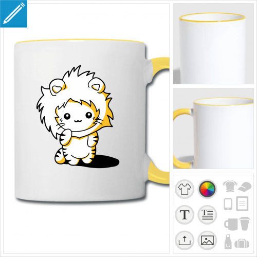 mug bicolore chaton kawaii à créer soi-même