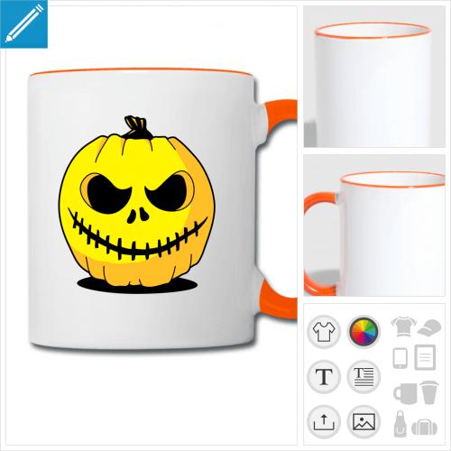 mug bicolore citrouille lanterne à personnaliser et imprimer en ligne
