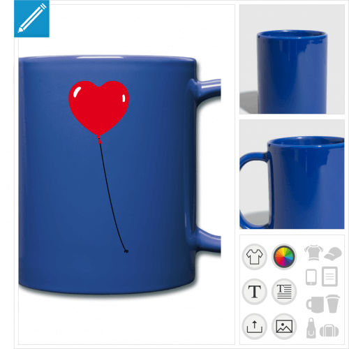 tasse couleur coeur rond à personnaliser