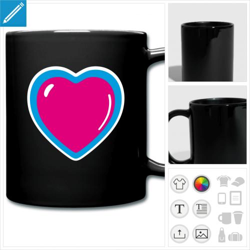 mug coloré coeur bijou à personnaliser et imprimer en ligne