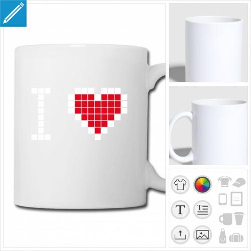 mug blanc coeur pixels à personnaliser, impression unique