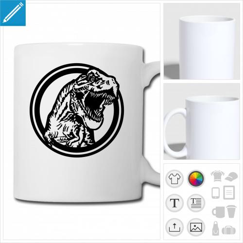 mug blanc tyrannosaurus rex à personnaliser, impression unique