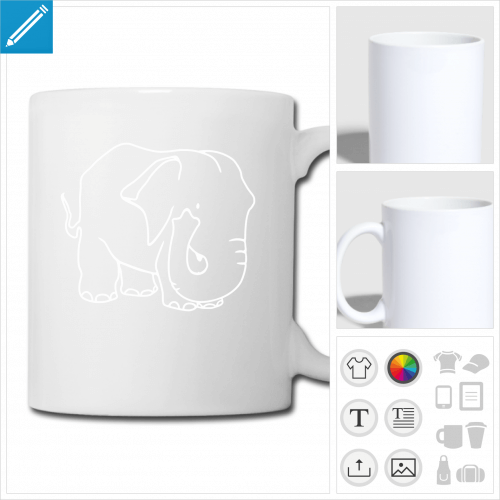tasse éléphants à créer en ligne