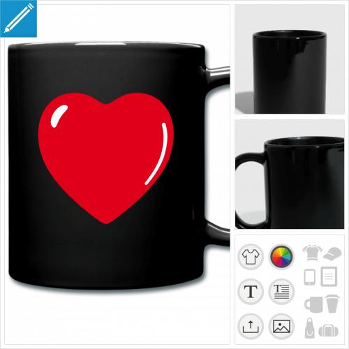 mug coloré I love à personnaliser en ligne