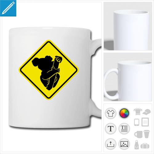mug blanc koala à personnaliser, impression unique