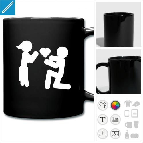 mug coloré picto love à personnaliser