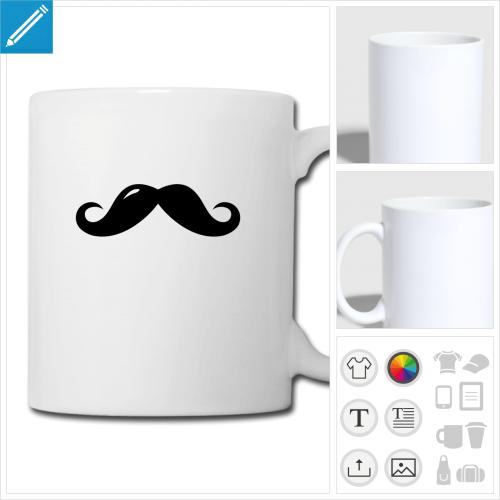 tasse moustache à personnaliser et imprimer en ligne