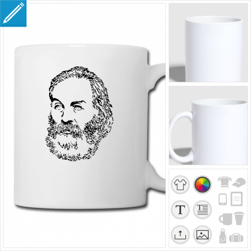 tasse walt whitman personnalisable