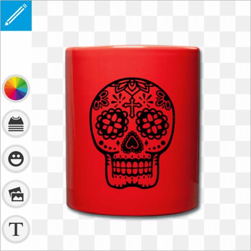 Mug personnalisé en céramique, rouge bleu jaune ou noir au choix, avec un motif mexicain crâne rond et fleuri.