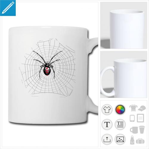 mug blanc toile d'araignée à personnaliser, impression unique