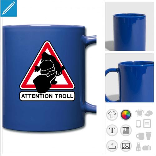tasse couleur panneau troll à personnaliser