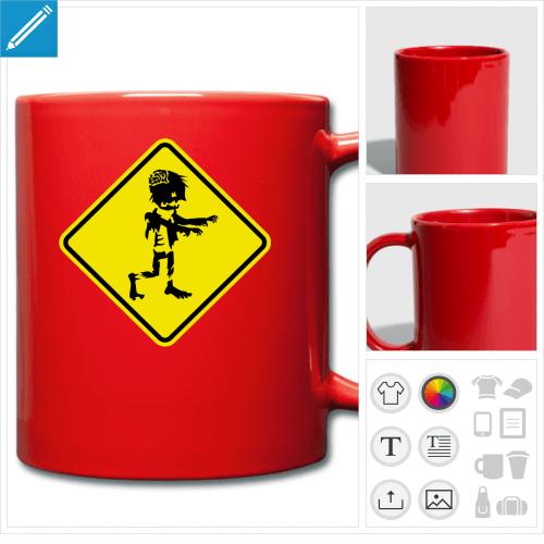 mug couleur zombie personnalisable, impression à l'unité