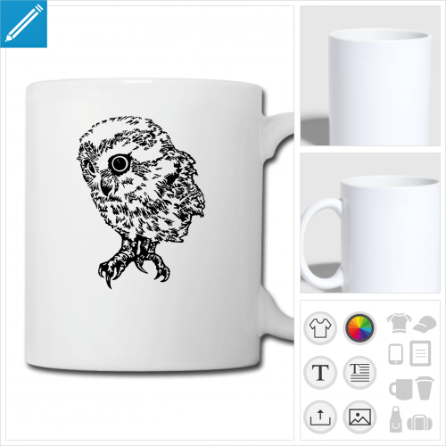 mug blanc bébé hibou à personnaliser, impression unique
