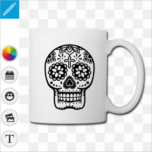 Tasse à anse fine et motif crâne mexicain fleuri dessiné en contours et sans fond.