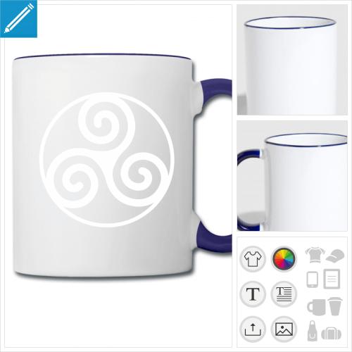 mug bicolore Triskel breton à personnaliser
