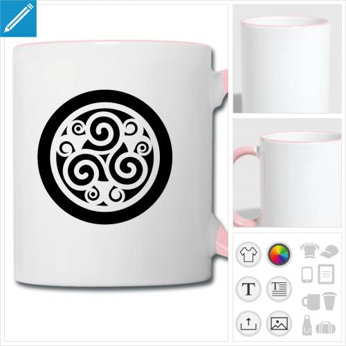 tasse bicolore celtique à imprimer en ligne