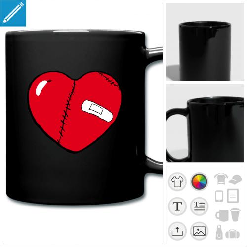 mug coloré coeur brisé à personnaliser