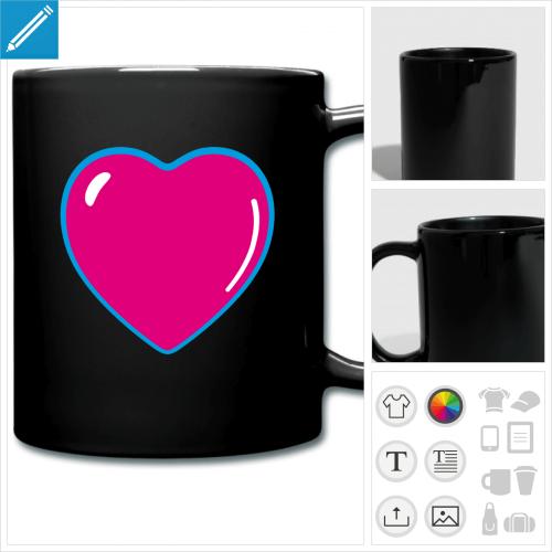 mug coloré coeur à créer en ligne