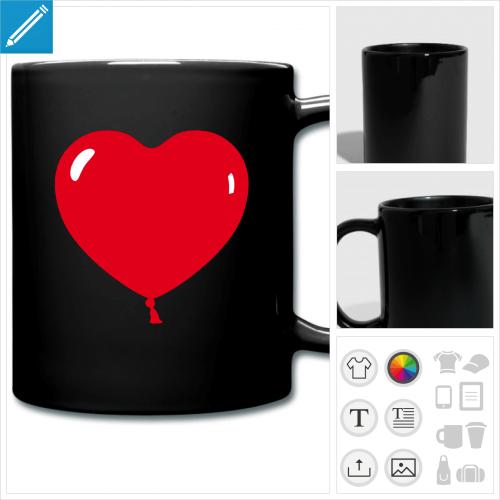 mug coloré ballon coeur à imprimer en ligne