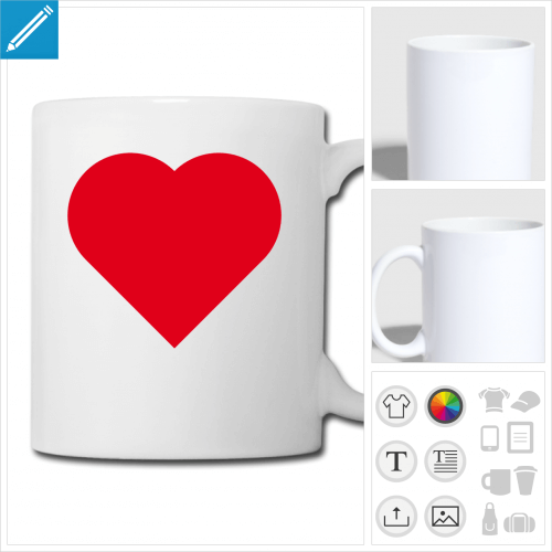 mug blanc coeur love à personnaliser et imprimer en ligne