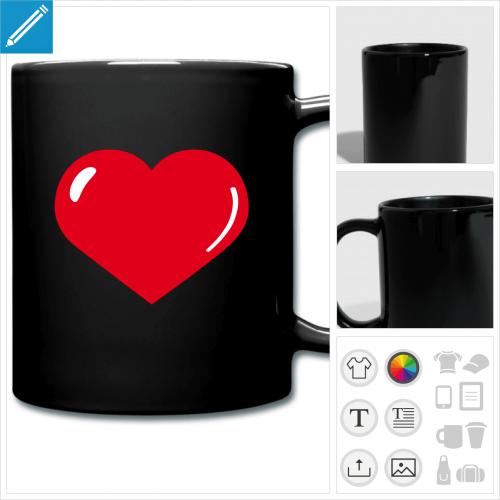 mug coloré gros coeur à personnaliser et imprimer en ligne