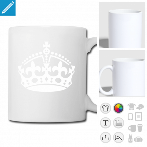 mug blanc couronne keep calm à personnaliser et imprimer en ligne