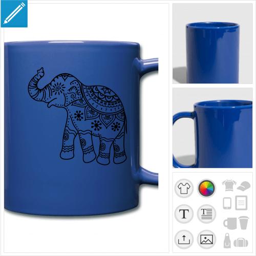 tasse éléphant à personnaliser, impression unique