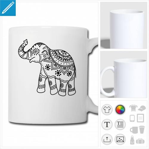mug éléphant personnalisable, impression à l'unité