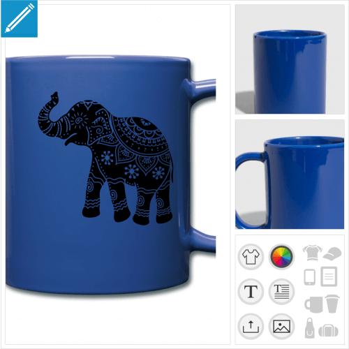 mug éléphant indien à personnaliser en ligne