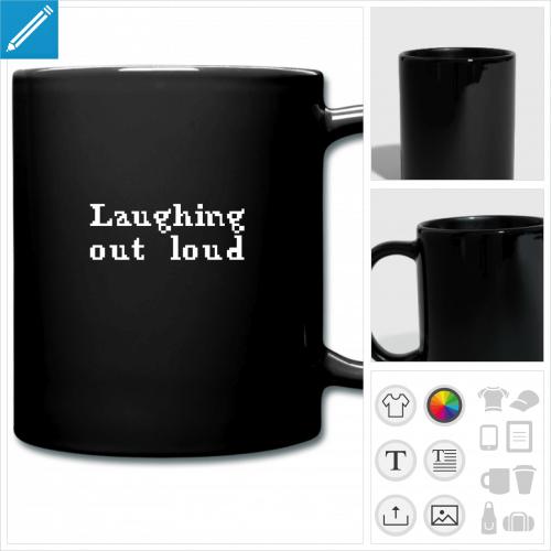 mug coloré citation lol personnalisable, impression à l'unité