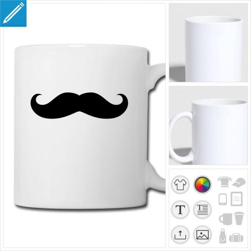tasse moustache basique personnalisable