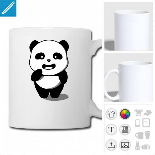 tasse panda personnalisable, impression à l'unité