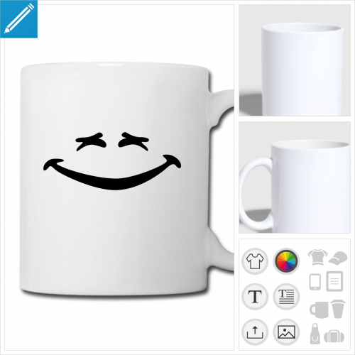 tasse smiley sourire à personnaliser, impression unique