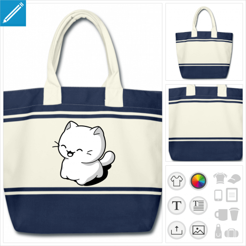 sac chaton kawaii à personnaliser, impression unique