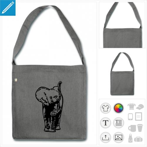 cabas bébé éléphant à personnaliser et imprimer en ligne