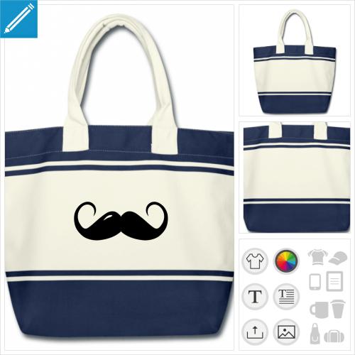 sac de courses moustache bouclée à personnaliser en ligne