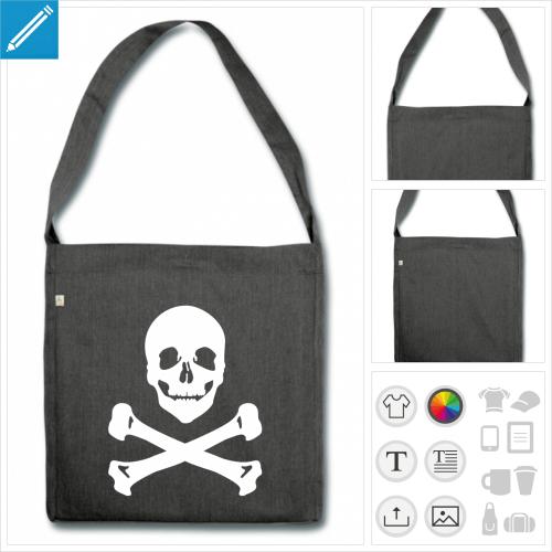 sac à bandoulière pirate os croisés à imprimer en ligne