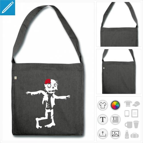 sac cabas zombie rigolo à personnaliser, impression unique