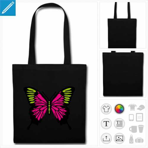 sac tissu noir papillon décoré personnalisable, impression à l'unité