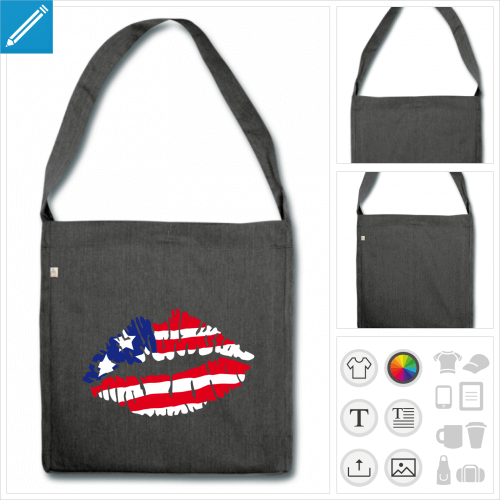 sac cabas drapeau américain à personnaliser et imprimer en ligne