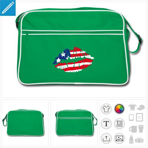 sac vintage drapeau américain à créer en ligne