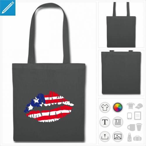 sac en tissu américain à personnaliser en ligne