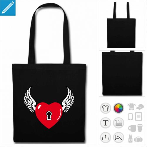 sac tote bag noir coeur personnalisable, impression à l'unité