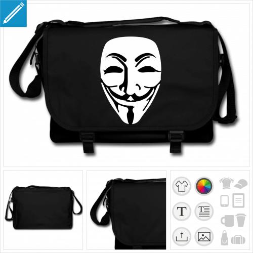 sac noir masque anonymous personnalisable, impression à l'unité