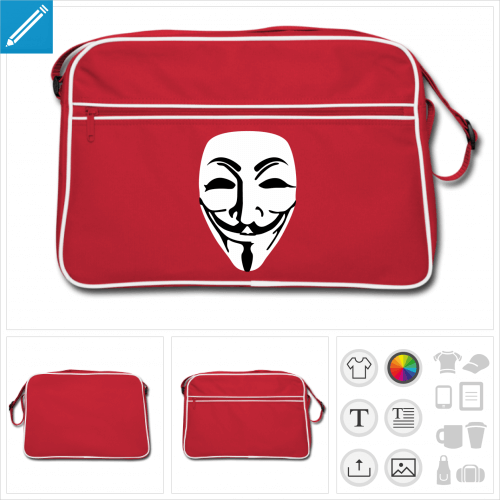 sac vintage guy fawkes personnalisable