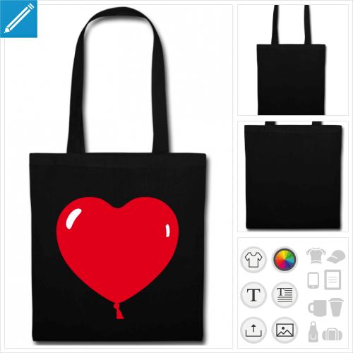 sac tote bag noir ballon coeur à personnaliser et imprimer en ligne