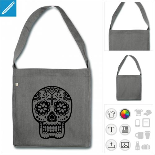 Sac à bandoulière élégant en tissu recyclé et motif Mexicain, crâne stylisé fleuri
