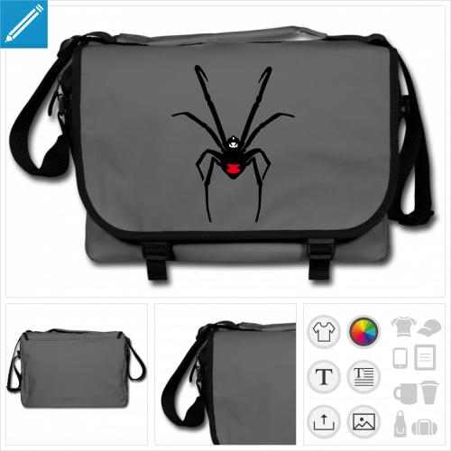 sac bandoulière araignée personnalisable, impression à l'unité